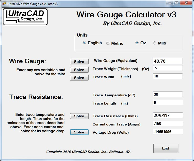 Ultracad design wire gauge calculator greentooth
